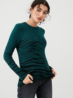 oasis-zebra-placement-perfect-crew-jumper-green