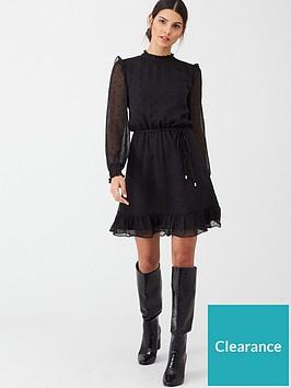 oasis-flocked-spot-dobby-dress-black