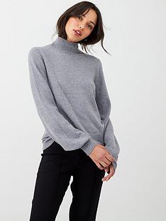 oasis-betty-balloon-sleeve-turtle-neck-jumper-grey