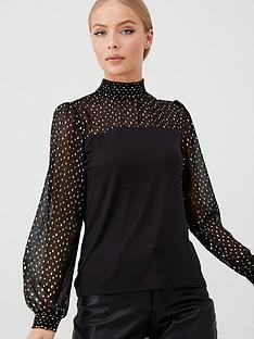 oasis-heart-foil-mesh-blouse-black