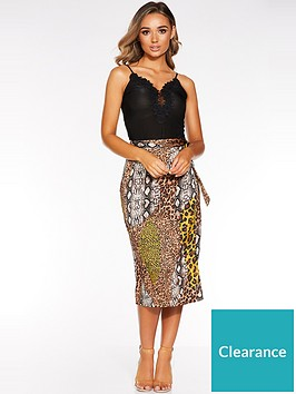 quiz-satin-mixed-animal-wrap-skirt-multi