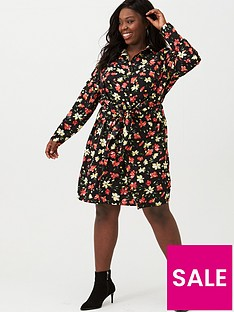 v-by-very-curve-knot-front-shirt-dress-floral-print