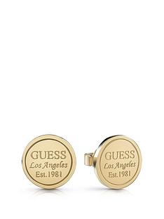 guess-gold-tone-logo-stud-earrings