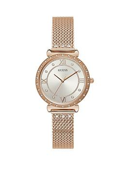 guess-guess-silver-crystal-set-dial-rose-gold-stainless-steel-mesh-strap-ladies-watch