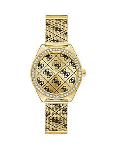 guess-guess-claudia-gold-sunray-and-black-logo-crystal-set-dial-gold-and-black-logo-print-stainless-steel-mesh-strap-ladies-watch