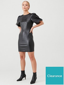 v-by-very-puff-sleeve-pu-mini-dress-black