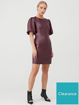 v-by-very-puff-sleeve-pu-mini-dress-burgundy