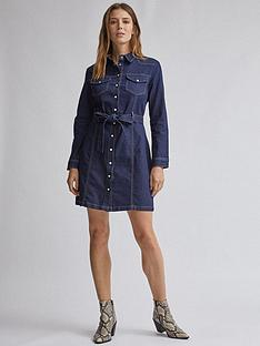 dorothy-perkins-dorothy-perkins-western-denim-shirt-dress-blue