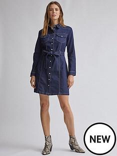 dorothy-perkins-dorothy-perkins-western-denim-shirt-dress-blue