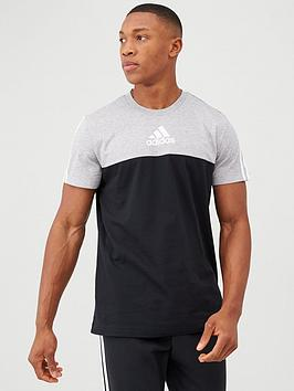 adidas-3-stripe-panel-t-shirt-blackgrey