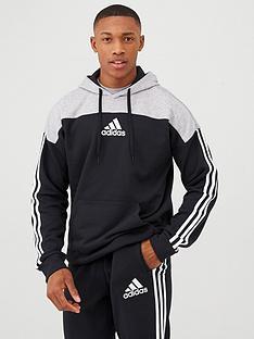 adidas-3-stripe-panel-overhead-hoodie-blackgrey