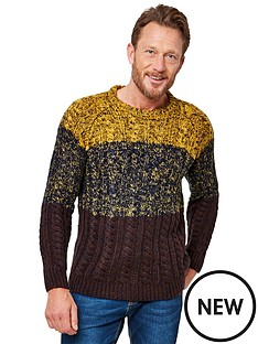 joe-browns-creative-cable-knit-jumper-mustardcharcoalbrown