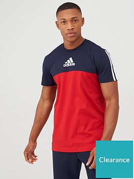 adidas-3-stripe-panel-t-shirt-rednavy