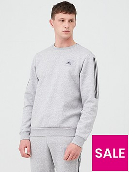 adidas-3-stripe-crew-sweat-medium-grey-heathernbsp