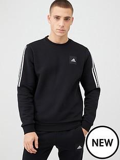 adidas-3-stripe-crew-sweat-black