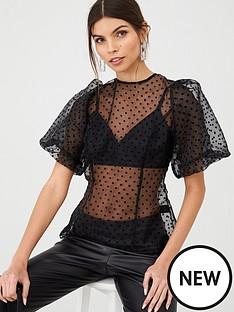 v-by-very-organza-blouson-sleeve-blouse-black