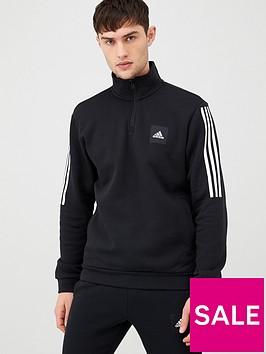 adidas-3-stripe-14-zip-sweatshirt-black
