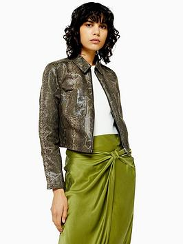 topshop-snake-print-cropped-jacket-green