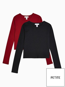 topshop-petite-2-pack-long-sleeve-scalloped-t-shirts-redblack