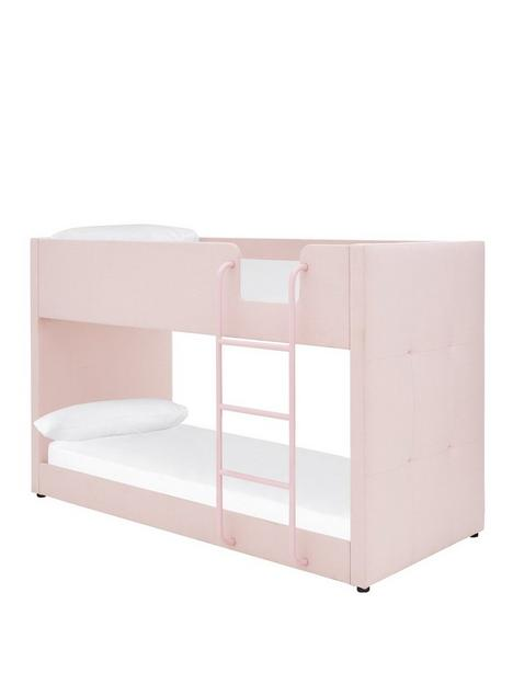 lubananbspfabric-bunk-bed-frame-with-mattress-options-buy-and-save-pink