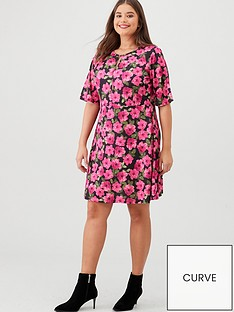 v-by-very-curve-floral-keyhole-dress-pink