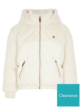 river-island-girls-faux-fur-mix-padded-jacket-cream