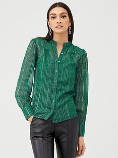 v-by-very-lurex-button-through-shirt-green