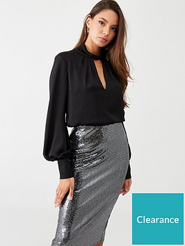 wallis-pleat-twist-neck-blouse-black