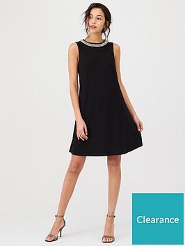 wallis-embellished-trim-swing-dress-black