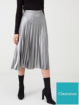 wallis-metallic-pleated-skirt-silver