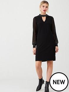 wallis-pearl-hotfix-shift-dress-black