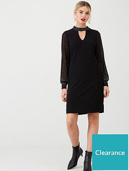 wallis-pearl-hotfix-shift-dress-black