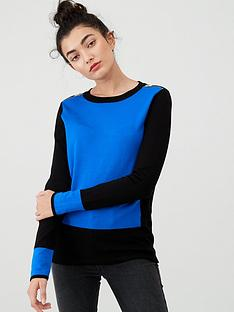 wallis-zip-shoulder-colour-block-jumper-blue