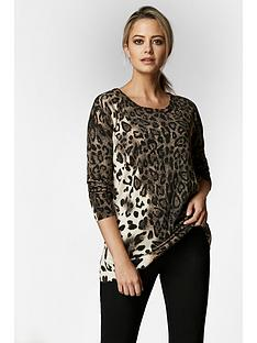 wallis-petite-animal-print-jumper-neutral