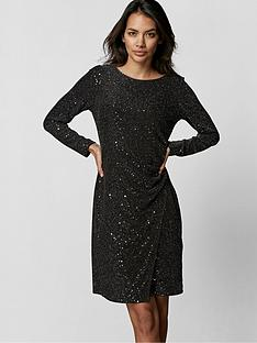 wallis-petite-cosmic-sequin-ruche-side-dress-black-silver