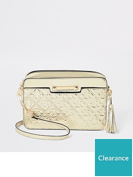 river-island-river-island-monogram-boxy-cross-body-bag-gold