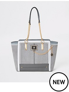 river-island-river-island-chain-detail-winged-tote-bag-grey