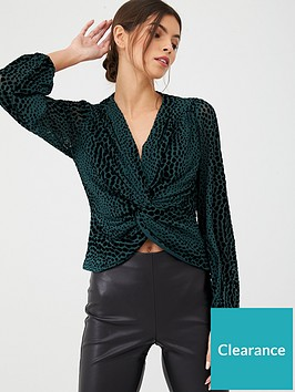 v-by-very-velvet-burnout-twist-front-top-green