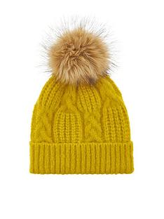 accessorize-patchwork-cable-pom-beanie-hat-lime