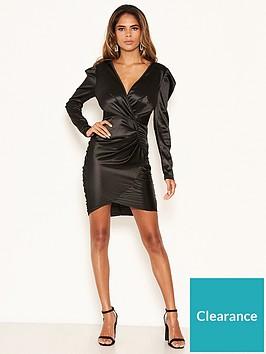 ax-paris-ruched-bodycon-wrap-dress-black