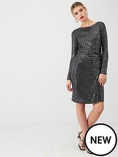 wallis-silver-sparkle-ruche-side-dress