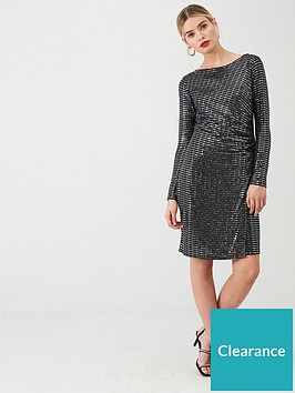 wallis-sparkle-ruched-side-dress-silver