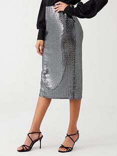 wallis-sequin-pencil-skirt-silver