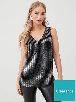wallis-shimmer-sequin-cami-black