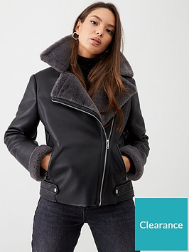 wallis-faux-fur-lined-bikernbsp--black