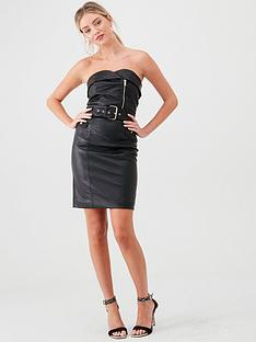 river-island-pu-zip-belted-dress-black