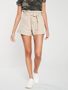 river-island-river-island-paperbag-belted-denim-shorts-cream