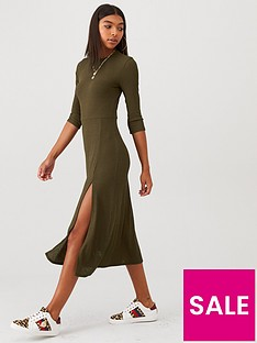 river-island-jersey-midi-dress-khaki
