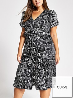 ri-plus-ri-plus-black-spot-puff-sleeve-midi-dress-black