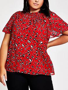 ri-plus-ri-plus-printed-frill-detail-shel-top-red